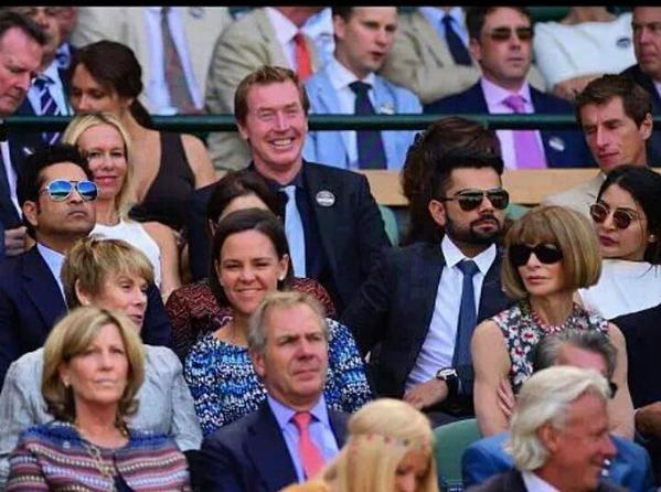Wimbledon 2015,Sachin Tendulkar,Anjali,Virat Kohli,Anushka Sharma,Virat Kohli and Anushka Sharma,Wimbledon 2015 men's singles Semi Final,Wimbledon Semi Final,Wimbledon 2015 men's singles,tennis,Wimbledon,Anjali Tendulkar