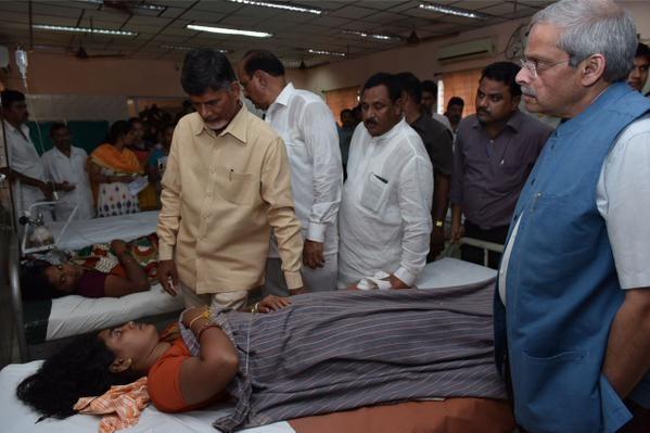 Pushkaralu stampede,Andhra Pradesh CM Chandrababu Naidu,Chandrababu Naidu,Pushkaralu ghat stampede,Godavari Pushkaram,Andhra Pradesh stampede Rajahmundry Godavari Pushkaram