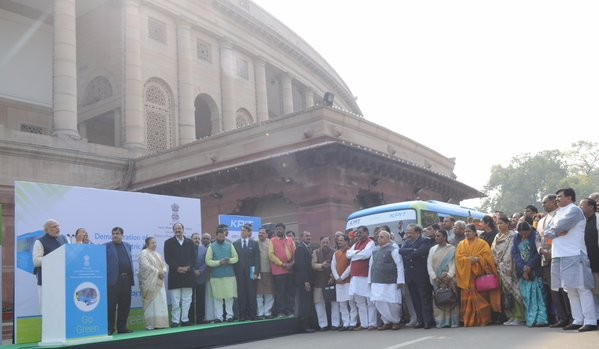 Narendra Modi,PM Narendra Modi,PM Narendra Modi inaugurates electric bus service for MPs,PM Narendra Modi inaugurates electric bus,electric bus service for MPs,electric bus service