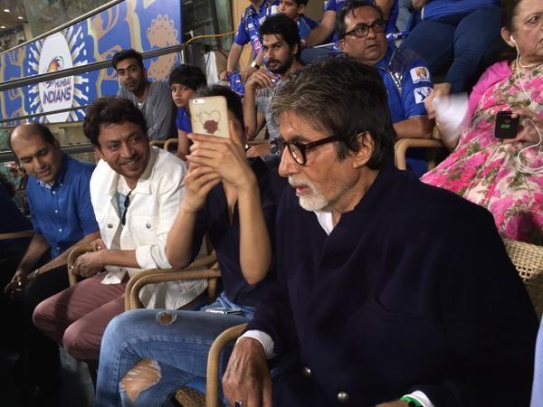 Piku Team at Wankhede Stadium,Amitabh Bachchan,Deepika Padukone,Irrfan Khan,Wankhede Stadium,Mumbai Indians vs Kolkata Knight Riders,mumbai indians,mumbai indians team,Kolkata Knight Riders,ipl 2015,ipl,IPL 8,ipl score,sachin tendulkar,rohit sharma