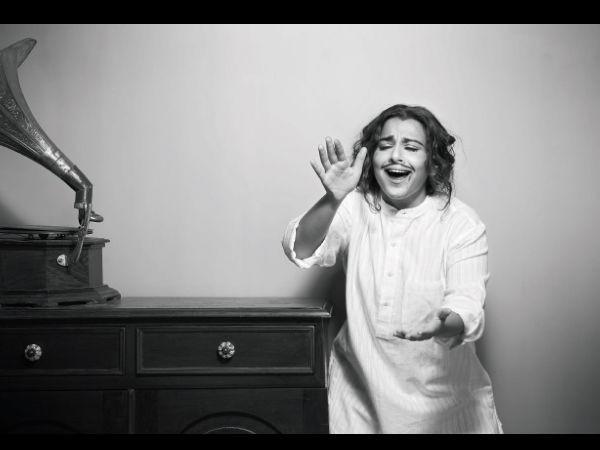 Vidya Balan,actress Vidya Balan,Vidya Balan Imitates The Looks Of Yesteryear Legends,Vidya As Charlie Chaplin,Vidya As Kishore Kumar,Vidya As Raj Kapoor,Vidya Balan As Guru Dutt,Vidya Balan pics,Vidya Balan images,Vidya Balan photos,Vidya Balan stills,Vid