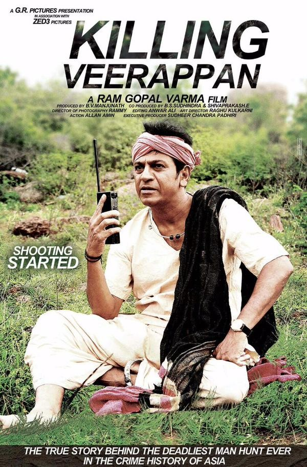 Killing Veerappan,Killing Veerappan Poster,Shivarajkumar,Ram Gopal Varma,Killing Veerappan first look,Ram Gopal Varma begins Killing Veerappan shoot