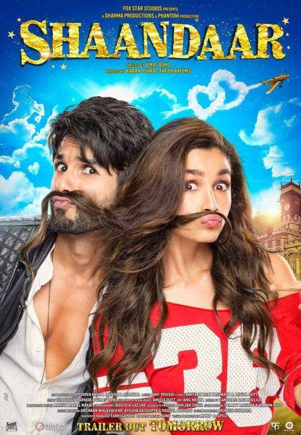 Shaandar First Look Poster,Shaandar First Look,Alia Bhatt,Shahid Kapoor,Alia Bhatt and Shahid Kapoor's Shaandar First Look Poster,Alia Bhatt and Shahid Kapoor,bollywood movie Shaandar,Shaandar movie poster,Shaandar poster