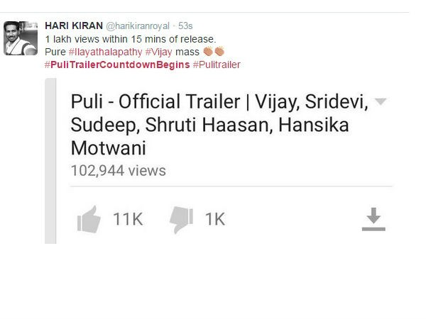 Vijay's Puli Trailer,Puli Trailer,Puli movie Trailer,vijay,ilayathalapathy vijay,ilayathalapathy,sridevi,sudeep,Hansika Motwani,Vijay's Puli Trailer: Live Audience Responses,Vijay's Puli Trailer review,Puli Trailer review
