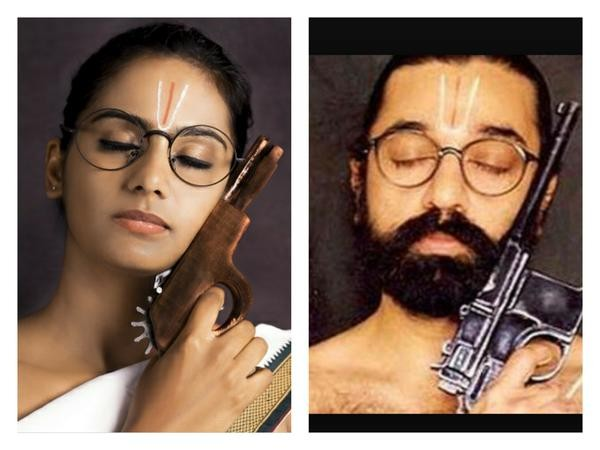 Kamal Hassan,Ulaga Nayagan Kamal Hassan,Lakshmi Priyaa Chandramouli,Lakshmi Priyaa Chandramouli as Kamal Hassan,Lakshmi Priyaa Chandramouli photoshoot,actress Lakshmi Priyaa Chandramouli