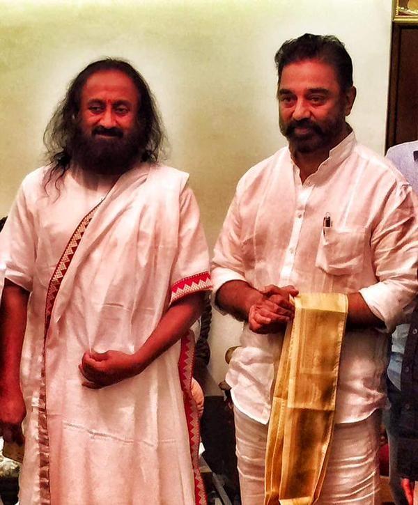 Kamal Hassan,Sri Sri Ravi Shankar,Kamal Hassan Met Sri Sri Ravi Shankar,actor Kamal Hassan,kamal,Kamal Hassan Meets Sri Sri Ravi Shankar
