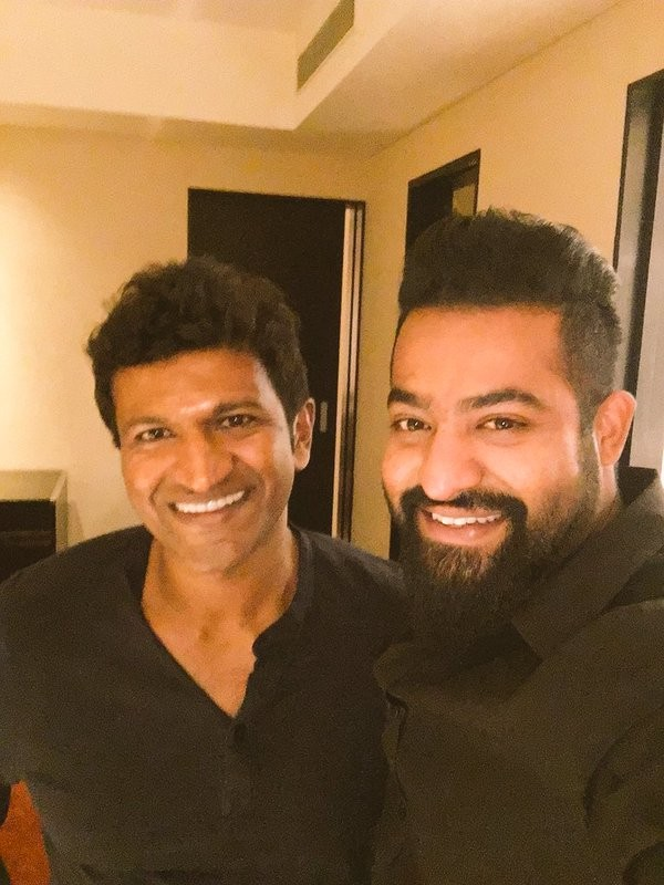 Jr Ntr With Puneeth Rajkumar At Chakravyuha Song Recording Photos