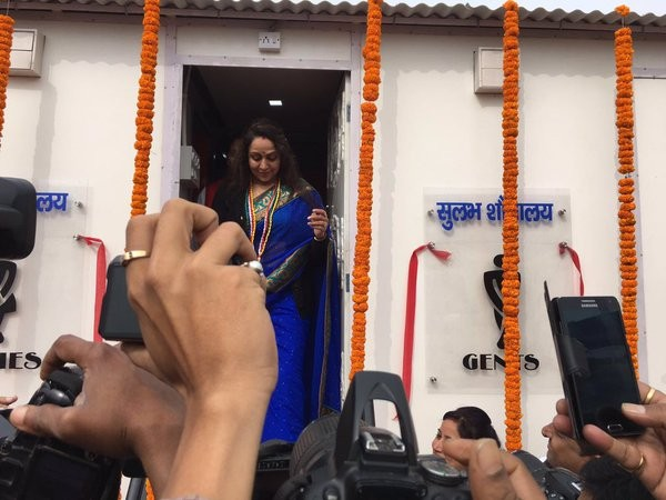 Bharatiya Janata Party MP and actor Hema Malini launches public toilets programme in Mathura.