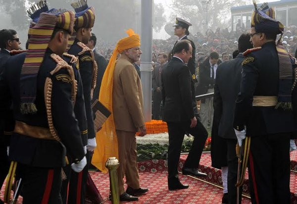 Prime Minister Narendra Modi reached the Rajpath here to mark the Republic Day celebrations on Tuesday.