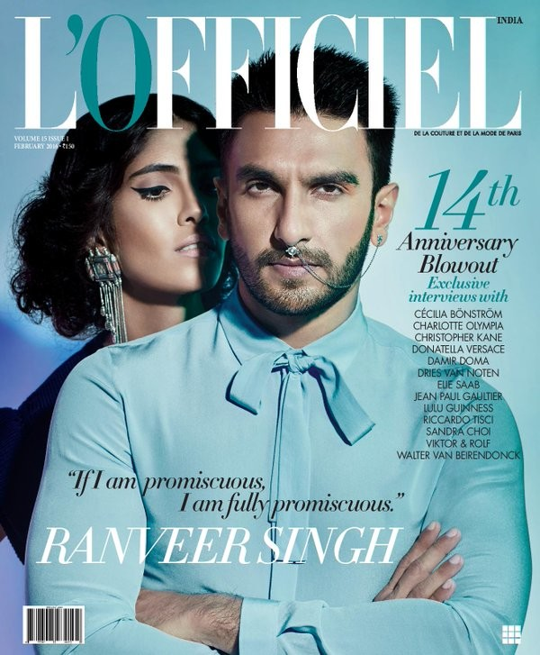 Bollywood actor Ranveer Singh sports septum ring for magazine cover.