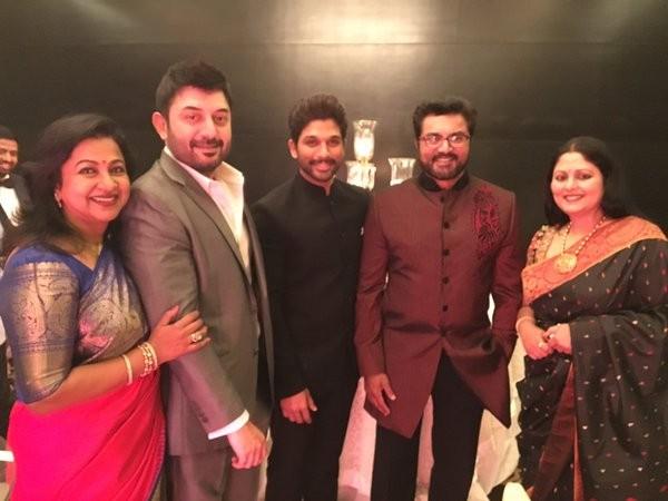 Arvind Swamy and Radikaa Sarathkumar at Srija Konidela wedding reception.