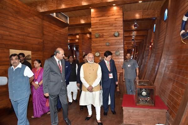 Narendra Modi,Nitin Gadkari,Narendra Modi inaugurates Maritime Exhibition in Mumbai,Maritime Exhibition in Mumbai,Maritime Exhibition