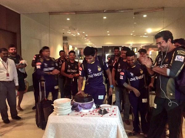 KKR team celebrated after they won the first IPL match against Mumbai Indians.