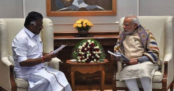 Panneerselvam meets Modi,Panneerselvam with Narendra Modi,O. Panneerselvam,Prime Minister Narendra Modi