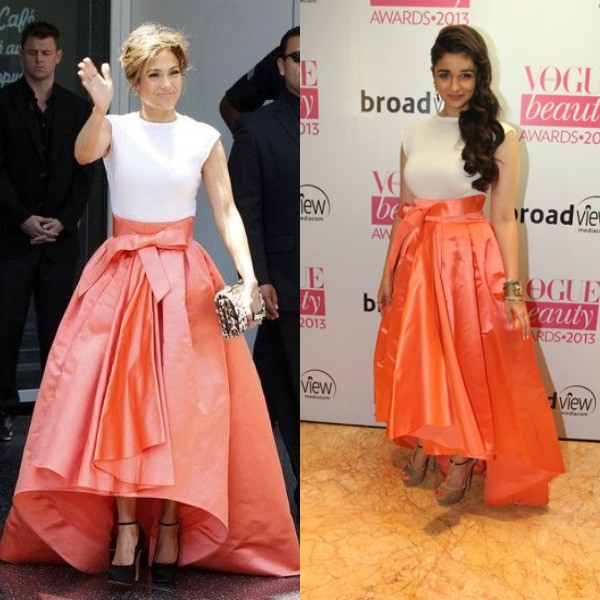 At the Vogue Beauty Awards 2013, Alia Bhatt was seen in a bright satin saffron Christian Dior dress. Jennifer Lopez was spotted in the same Dior dress during an Award show.