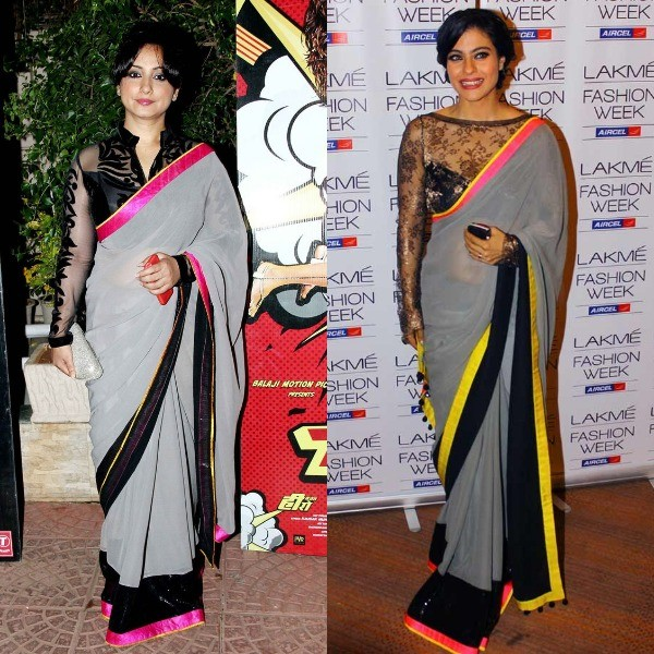 Actress Kajol was spotted in a grey Manish Malhotra saree during the first day of the Lakme Fashion Week (LFW) Summer/Resort 2013 show in Mumbai. A year later, Divya Dutta was seen in a similar saree at the success party of 'Main Tera Hero' hosted by Ekta Kapoor.