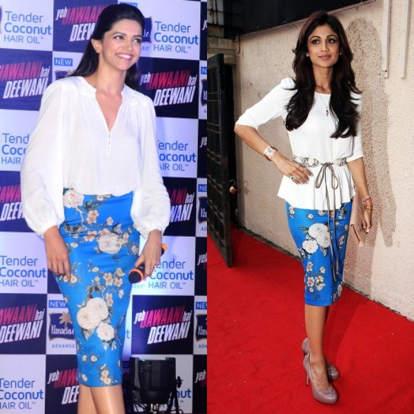 Shilpa Shetty appeared too classy in a white top and Zara skirt. She was attending Raveena Tandon's new jewellery line launch. Deepika Padukone wore a similar kind of dress during the promotion of her film Yeh Jawani Hai Deewani.