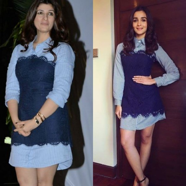 While attending an event in New Delhi,Alia Bhatt appeared in a striped BCBG Max Azria mini shirt dress. Twinkle Khanna was also seen in the same dress during a charity event.