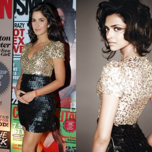 Katrina Kaif was seen in a Monisha Jaising mini dress during the Cosmopolitan Awards, 2009. Deepika Padukone was donned this outfit for the Verve photoshoot in 2009.