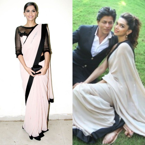 Bollywood's fashionista Sonam Kapoor wore a pale pink saree while promoting Bhaag Milkha Bhaag at a TV show. Within a few weeks, Deepika Padukone was seen in the same pink saree paired with a black sleeveless blouse during the promotion of her movie Chennai Express.