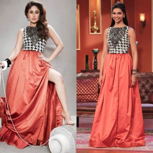 In 2013, Deepika Padukone came on the sets of Comedy Nights with Kapil, wearing an Atsu Sekhose ensemble. Before that, Kareena Kapoor had worn this for a magazine photoshot.