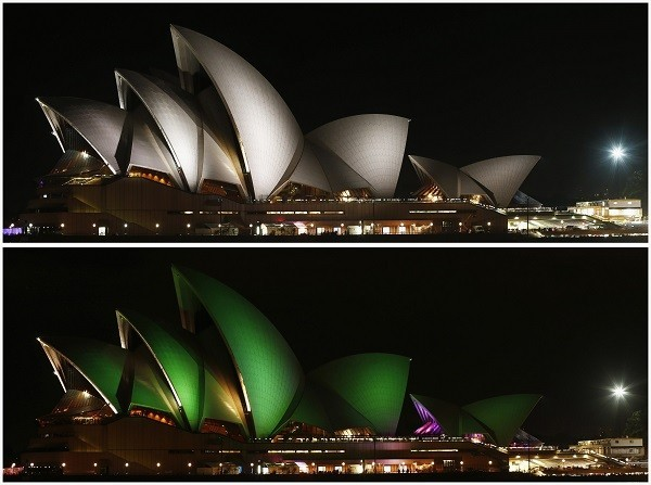Combo photo of the Sydney Opera House before and during Earth Hour