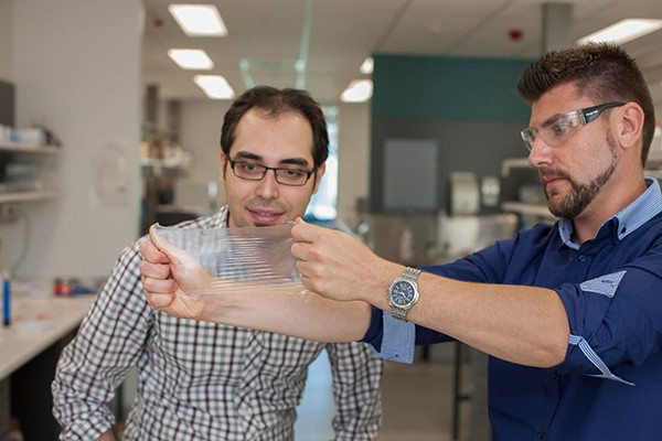 Dr Sina Naficy and Dr Robert Gorkin with the hydrogel material that has won funding from the Bill & Melinda Gates Foundation to develop the next generation condom. (University of Wollongong in Australia)