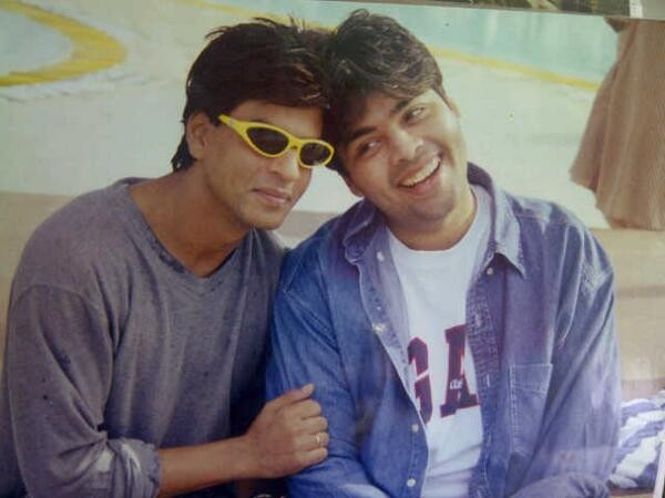 Shah Rukh Khan and Karan Johar on the sets of 'Kuch Kuch Hota Hai'