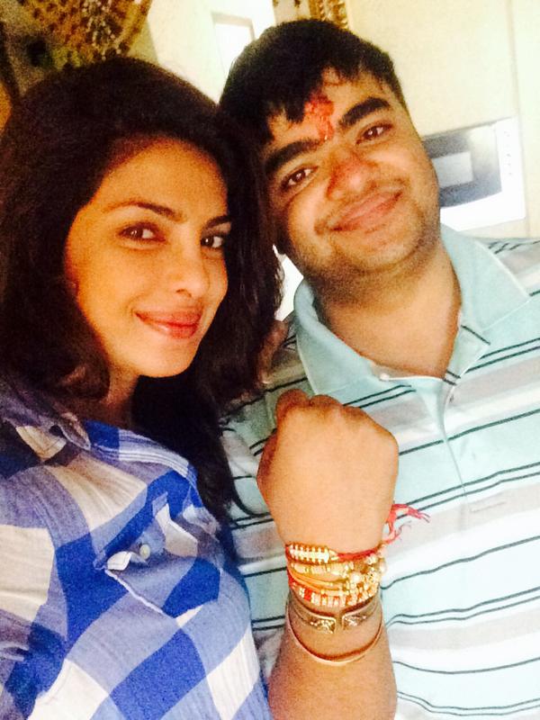 Priyanka Chopra with brother Siddharth Chopra on Rakhi