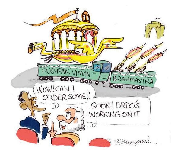 Cartoon showing Narendra Modi and Barack Obama