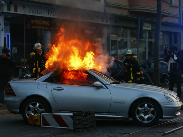 luxury car set on fire