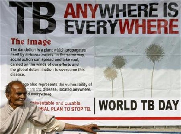 Jotindra Singh, 65, suffering from Tuberculosis (TB) waits for his free treatment outside a medical centre in Siliguri March 24, 2009.