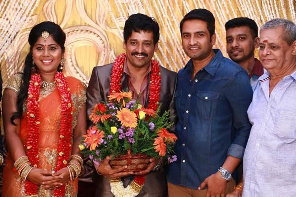 Santhanam at Vidharth-Gayathri Devi Wedding Reception.