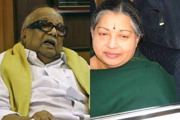 Tamil Nadu former Chief Minister M Karunanidhi and his arch rival Jayalalithaa, who is currently the state chief minister