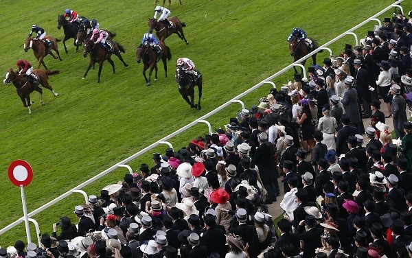Horses run in the King's Stand Stakes during the first day of the Royal Ascot horse racing festival at Ascot.