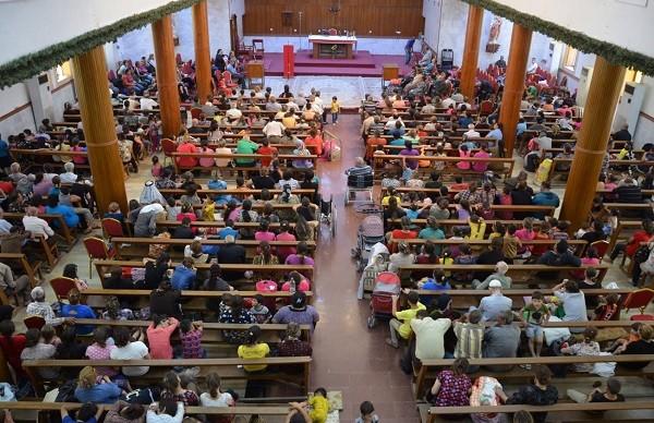 Iraqi refugees at a church in Erbil