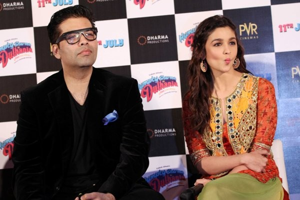 Karan Johar with Alia Bhatt at Trailer launch of upcoming film 'Humpy Sharma Ki Dulhania'