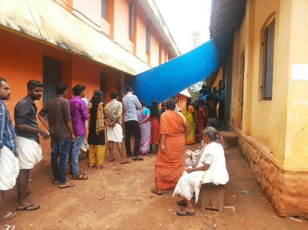 Voters waiting to cast vote during Aruvikara by-election.