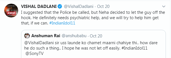 Vishal Dadlani Tweet