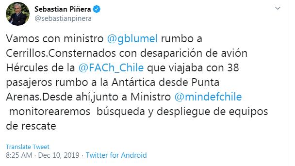 chile president tweet