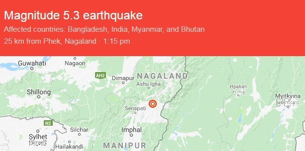 Breaking News: 5 3 magnitude earthquakes jolts Manipur, no