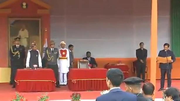 Meghalaya swearing-in,Meghalaya,Conrad Sangma Meghalaya CM,Conrad Sangma,Conrad Sangma takes oath