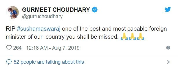 Tv celebs mourn Sushma Swaraj's death