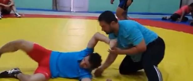 Aamir Khan practising Wrestling