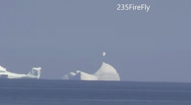 UFO Sighting: Unidentified Object seen Hovering Over Iceberg in Canada (You Tube Screenshot/235FireFly)