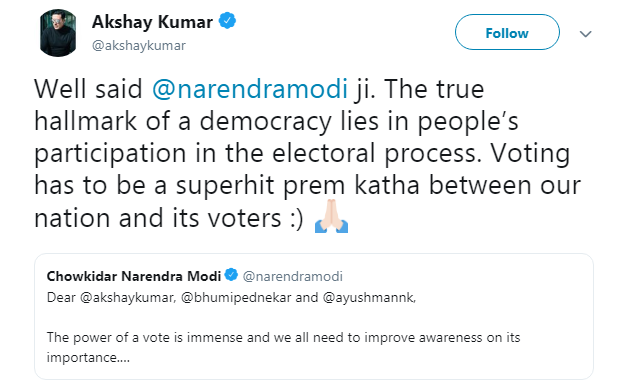 Akshay kumar modi tweet