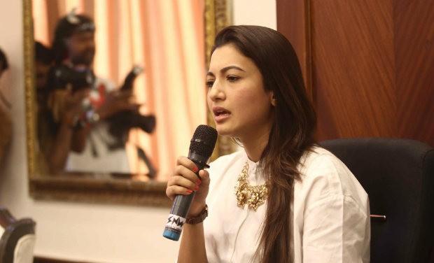 Gauahar Khan during press meet
