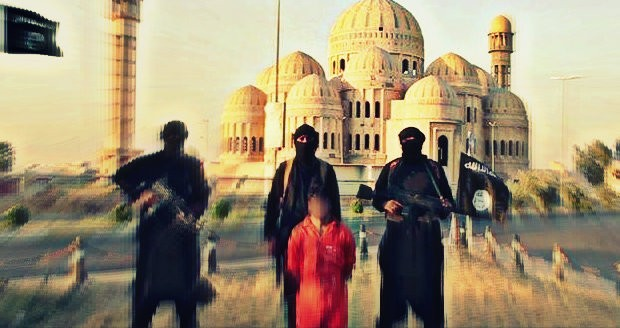 Isis militants near The Great Mosque in Mosul.