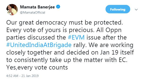 Mamata Banerjee tweet on EVM hacking