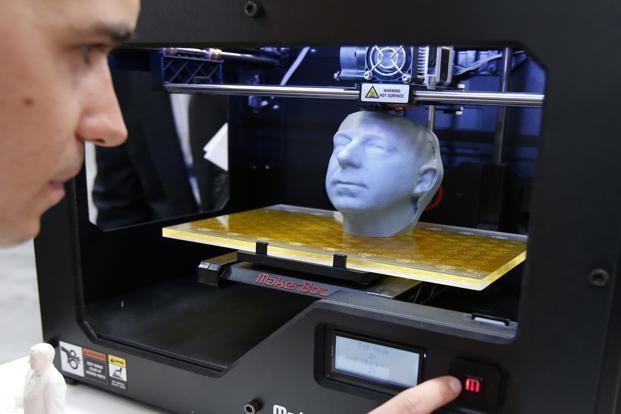 3D printer MakerBot Replicator 2 at the CeBit computer fair in Hanover